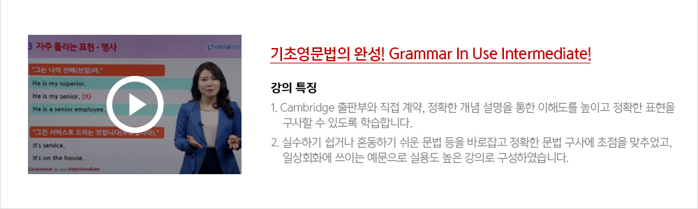 기초영문법의 완성! Grammar In Use Intermediate!